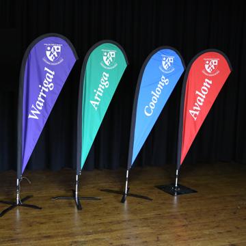 school swimming carnival teardrop flags