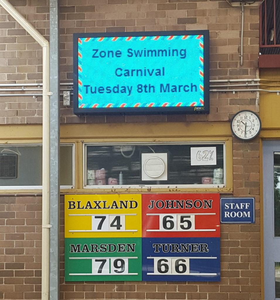 school swimming carnival led scoreboards