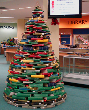 school Christmas decoration library book christmas tree