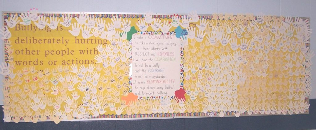 school bullying signs pledge wall